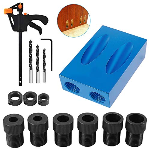 15 Degree Pocket Hole Screw Jig Dowel Drill Joinery Kit Positioner Locator Tool, Woodworking Angle Drilling Guide Angle Tool Kit 6/8/10mm Holes(15 Pcs)