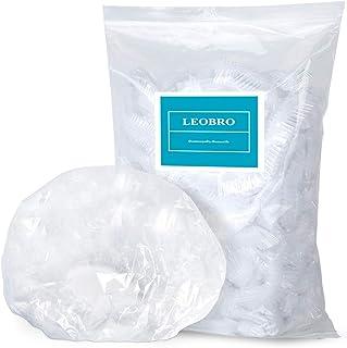 Shower Cap, LEOBRO 100 Pack Clear Plastic Hair Caps, Elastic Bath Caps, Disposable Shower Caps for Women, Home Use, Hair Salon, Hotel, Travel
