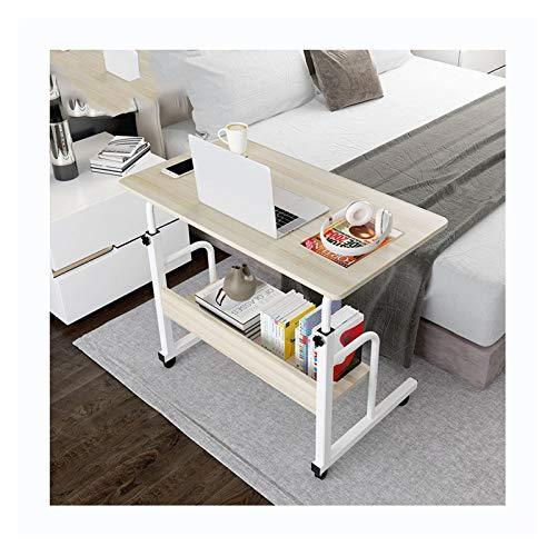 ALBBMY Mesa de sobrecama con ruedas ajustable y resistente para ordenador portátil, soporte de escritorio con ruedas (color arce cerezo 80 x 40 cm)