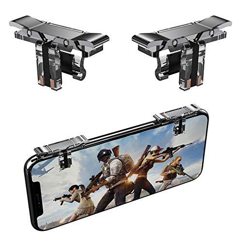 Leton Juegos Móviles Triggers Controladores Joysticks Gamepad, Botón L1R1 Trigger de Fuego para PUBG/Fortnite/Reglas de Survial, Palanca de Mando de Juego Auxiliar para Android iOS Smartphone (1 par)