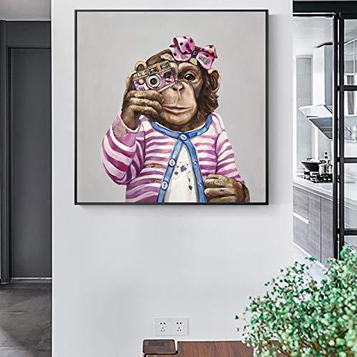 Lindos carteles de arte de pared de mono e impresiones animales abstractos lienzo arte decoración del hogar imagen moderna habitación Cuadros decoración-40x40cm sin marco
