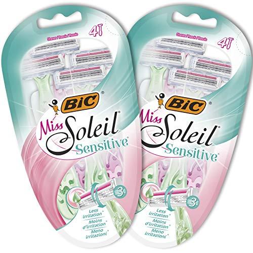 BIC Miss Soleil Sensitive Nassrasierer Set für Damen, 3 Klingen Set mit 8 Rasierern
