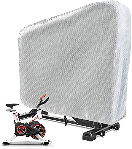 TwoPone Exercise Bike Cover, Upright Indoor Cycling Protective Cover, Waterproof Dustproof Oxford Fabric are Ideal Choice for Indoor and Outdoor Use,Silver