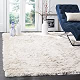 Safavieh Paris Shag Collection SG511-1212 Handmade Silken Glam Area Rug, 8' x 10', Ivory