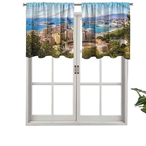 Hiiiman Cenefas de cortina opacas con bolsillo para barra cortas, vista aérea de Málaga, juego de 2, 42 x 36 pulgadas para cocina y baño