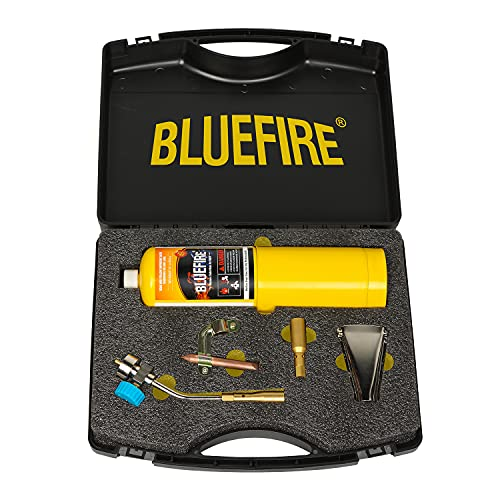 BLUEFIRE Solid Brass Pencil Flame Gas Welding Torch Professional Upgrade Kit with MAPP All-Purpose Bundle Searing Head Hard Box interchangeable Nozzle Fuel by MAP Pro Propane CGA 600 Cylinder