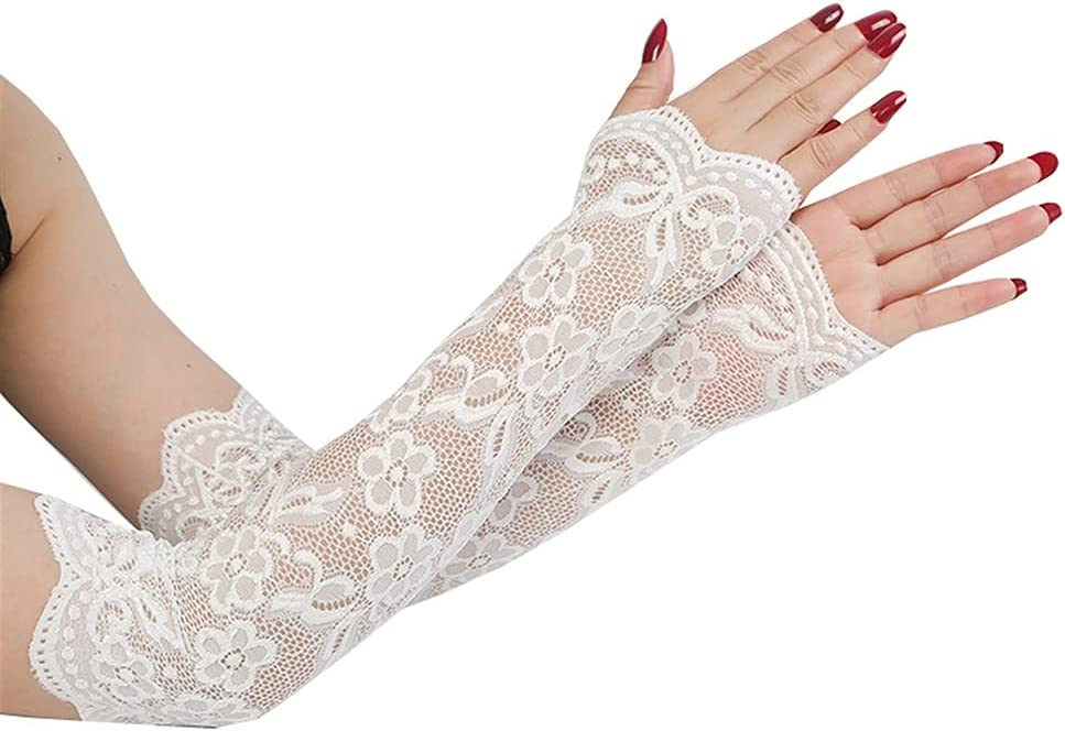 YYOBK SHt Summer Women Sexy Lace Gloves Lady Fingerless Elastic Sleeve Fake Sleeves Classic Long Glove Driving Glove Sunproof Arm Sleeves (Color : Apricot)