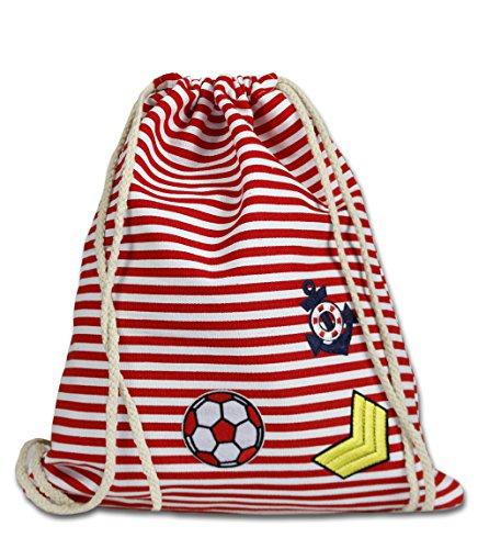 Vetrineinrete® Sacca in poliestere da mare borsa da spiaggia piscina con righe rosse o blu zainetto a spalla per tempo libero gita sport zaino con chiusura a coulisse 62066-1 (Righe rosse) G31