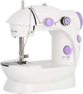 Mini máquina de coser Máquinas de coser eléctricas portátiles de mano Ajustable de 2 velocidades con pedal para niños Principiantes para niños Máquina de bordar púrpura para coser en casa