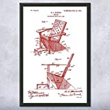Patent Earth Framed Adirondack Chair Print, Furniture Maker, Carpenter Gift, Wood Working, Shop Class Teacher, Handyman Gift (9 inch x 12 inch)