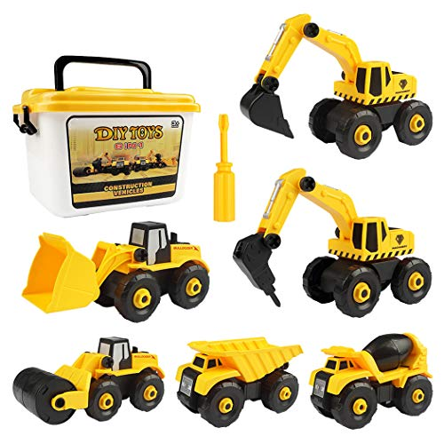 justdolife 6PCS Construction Vehicle Set Creative Take Apart Toy with Drill Multicolor Take Apart Construction Truck Toys Assembly Toys for Kids