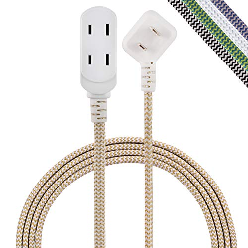 Cordinate Designer 3-Outlet Extension Cord, 8 Ft Braided Cable, 2-Prong Power Strip, Slide-to-Lock Safety, Low-Profile Flat Plug, Polarized, ETL Listed, White/Tan, 41891-T1