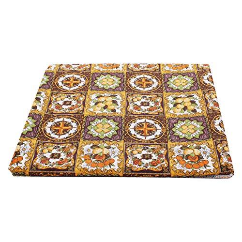 SaRani - Mantel de tela de algodón, 280 x 280 cm, diseño de cuadros antiguos, color dorado