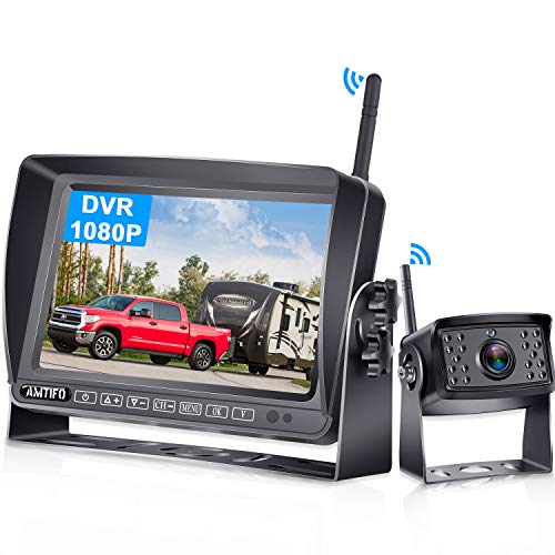 AMTIFO A5 RV Wireless Backup Camera with 7 Inch FHD 1080P DVR Touch Monitor,High-Speed Observation System with Stable Signal,IP69K Waterproof,Support add 4 Cameras