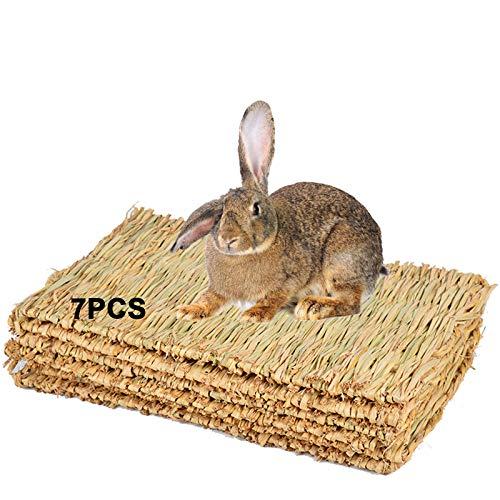 Lucky Interests 7 Pack Grass Mat Woven Bed Mat, Bunny Bedding Nest Rabbit...