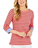 Nautica Womens Chambray Casual Cuff TOP 3/4 Sleeve TOP! (Large, Pink/Pink)