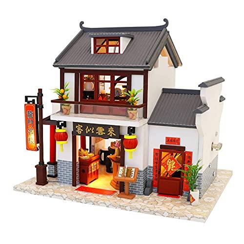 PPQQBB Casa de muñecas Miniatura Kit de Casa DIY Habitación Creativa con Muebles para Obra Romántica Regalo Dragon Gate Inn