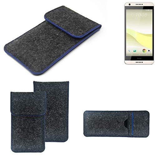 K-S-Trade Handy Schutz Hülle Für HTC Desire 650 Schutzhülle Handyhülle Filztasche Pouch Tasche Hülle Sleeve Filzhülle Dunkelgrau, Blauer Rand