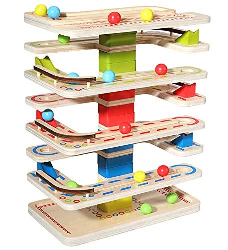 Ms.0 ころころスロープトイ ビー玉転がし ビーズコースター 木のおもちゃ 知育玩具 モンテッソーリ教具
