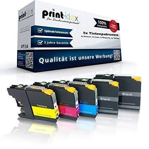 5x cartuchos de tinta compatibles para Brother LC121 LC123 DCP J132 W DCP J150 DCP J152 W DCP j152 WR DCP J4110 DW DCP j4110 W DCP J552 dw DCP J752 dw - Pack económico - Eco Serie Oficina - 2x Negro 1 Uds. Cian 1 Uds. Magenta 1 Uds. Amarillo