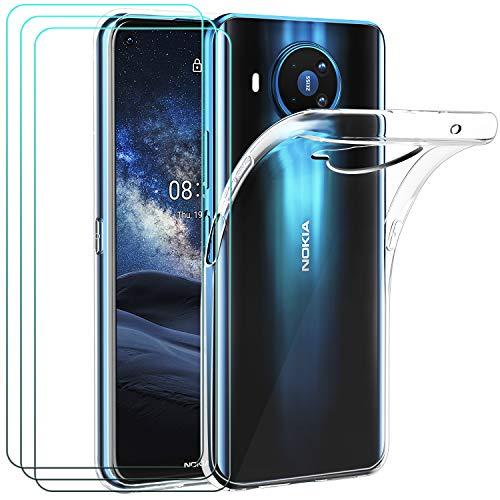 ivoler Hülle für Nokia 8.3 5G, mit 3 Stück Panzerglas Schutzfolie, Dünne Weiche TPU Silikon Transparent Stoßfest Schutzhülle Durchsichtige Handyhülle Kratzfest Hülle