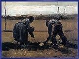1art1 Vincent Van Gogh Póster Impresión Artística con Marco (Plástico) - Campesino Y Campesina Plantando Patatas, 1885 (80 x 60cm)