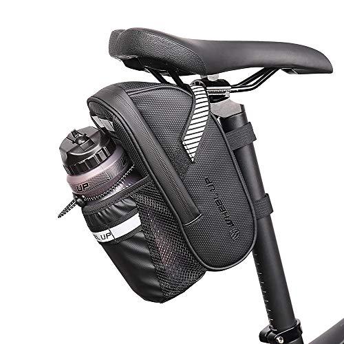 Gobesty Bolsa Sillín Alforja Asiento de Bicicleta, MTB Bolsa de Bicicleta Impermeable, Bolsa de Marco Reflectante, Accesorios de Bicicleta, Bolsa de Sillín de Bicicleta, Portavasos de Bicicleta