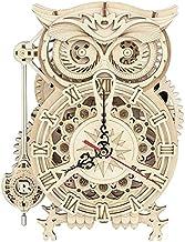 CNmuca Relógio de mesa de coruja de madeira quebra-cabeça tridimensional modelo 3D Brinquedo educativo Relógio de coruja B...