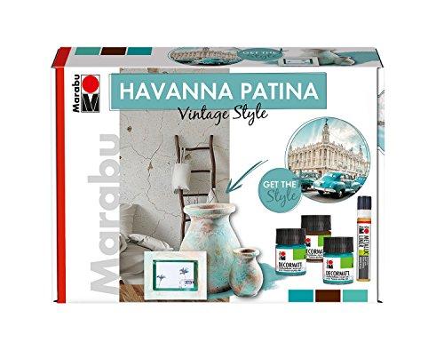 Marabu 1272000000080 - Acryl Patinaeffektfarbe im Set, Havanna Vintage Style, auf Wasserbasis, lichtecht, wetterfest, schnell trocknend, 3 x 50 ml Farbe, Metallic Liner, Schwamm und Pinsel