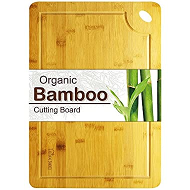 Cutting Board, Lovin Product Professional Extra Large Bamboo Cutting Board; Juice Groove & Hand Grips/Healthy Organic/Thicker Boards/BPA-Free/Durable Chopping Board for Kitchen (18X12 Inch)