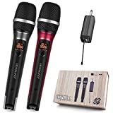 Wireless Microphone, UHF Dual Handheld Dynamic Mic System with Rechargeable Receiver, 160ft Range...
