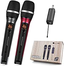 Wireless Microphone, UHF Dual Handheld Dynamic Mic System with Rechargeable Receiver, 160ft Range for Home Singing, Party, Karaoke, PA System, Amplifier, Speaker