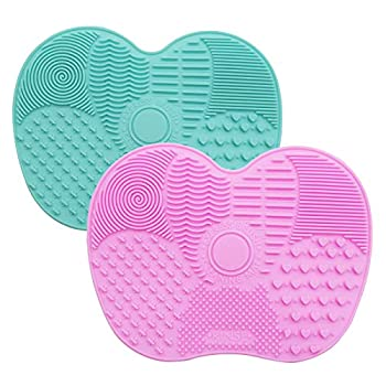 M&U 2PK Makeup Brush Cleaner Mat Silicone Brush Cleaning Pad Portable Washing Tool Scrubber with Suction Cup  Mint + Pink