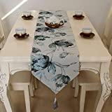 Qinqin666 Chinesische Feng Shui Tinte Tischfahne Bett Fahne Kaffeetisch Überschuh Tuch Silber-Grau 32x220cm