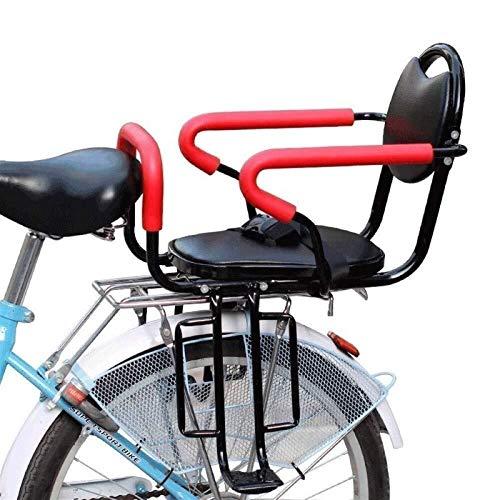 CRMY Asiento Trasero de Bicicleta para niños, cojín de Asiento de Transporte para niños Suave de Cuero de PU con Pedales de Respaldo para los pies Adecuado para niños de 2 a 8 años