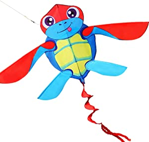 HENGDA KITE for Kids So Cute Cartoon Turtle Kite Single Line Kite Flying for Children Kids Outdoor Toys Beach Park Playing