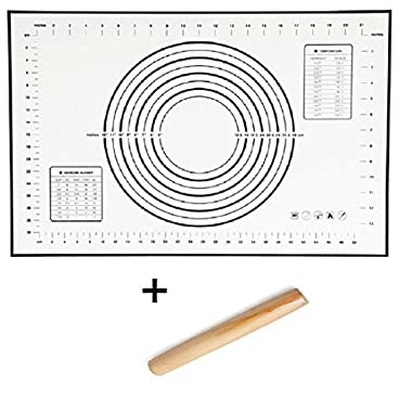 Sfb Silicone Fiberglass Baking Mats 23.6x15.7in and Wood Rolling Pin 8.27in SET (Black)