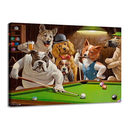 HSFFBHFBH Leinwanddruck Moderne hochauflösende Hunde Spielen Billard Malerei Kunst Home Decoration Poster auf Leinwand Wand 70x90cm (27,6
