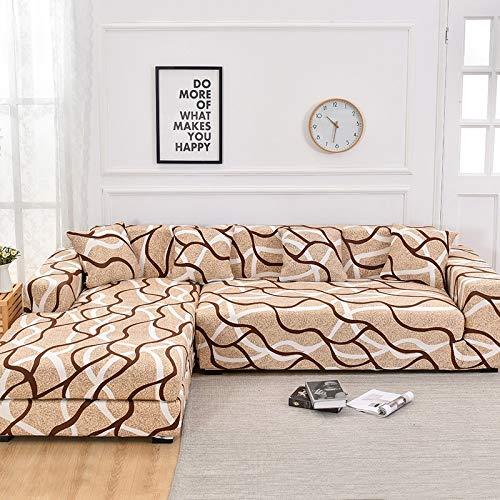 Fundas de sofá de Esquina para Sala de Estar Funda elástica elástica Sofá seccional Chaise Longue Funda de sofá en Forma de L A11 3 plazas