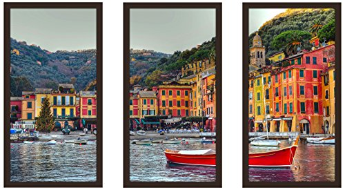 "Picture Perfect International Portofino, Italy Ii Framed Plexiglass Art Set of 3 Wall-Decor, 17.5"" W x 33.5"" H x 1"" D"
