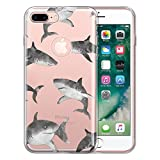 FINCIBO Case Compatible with Apple iPhone 7 Plus/ 8 Plus, Clear Transparent TPU Silicone Protector Case Cover Soft Gel Skin for iPhone 7 Plus / 8 Plus (NOT FIT iPhone 7/8) - Gray Sharks