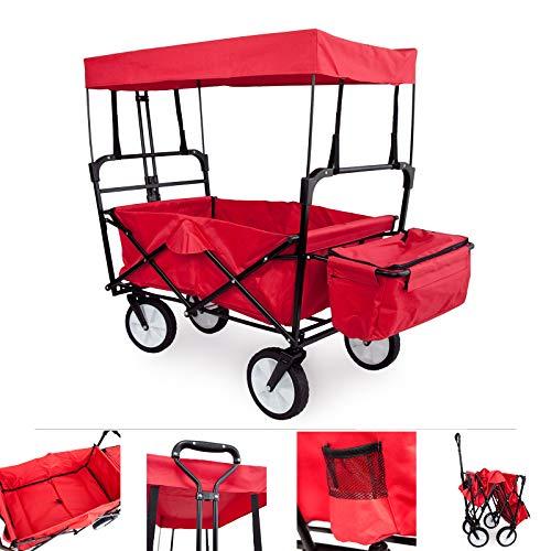 Grafner Bollerwagen faltbar mit Dach, bis 90 kg Tragkraft, 360° Vollgummi Räder und XXL-Außentasche - optimal für Ausflüge, Strand, Festivals, Garten und Wald