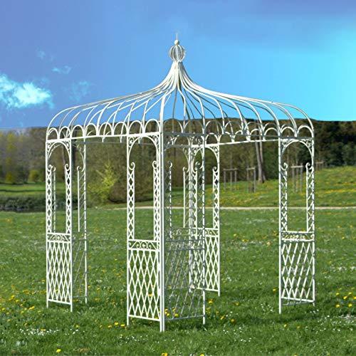 The Original Deco Square Iron Gazebo Garden Pergola Gloriette Square Iron Garden Metal White 220 x 220 x 300 cm