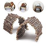 Lot de 2 ponts à mâcher en bois pour hamster, reptile, lézard, tortue, hérisson et petit animal