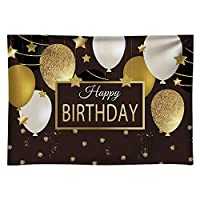 GooEoo 10x8ftお誕生日おめでとう背景ブラックゴールドバルーンスター写真パーティーフォトブーススタジオケーキテーブルバナー家族パーティー誕生日背景ベビーシャワー装飾ビニール素材