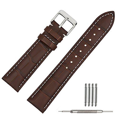 TStrap Correa de para reloj, 18mm, Hebilla de Acero Inoxidable, Piel de Becerro ,Color marrón con Banda roja Marrón