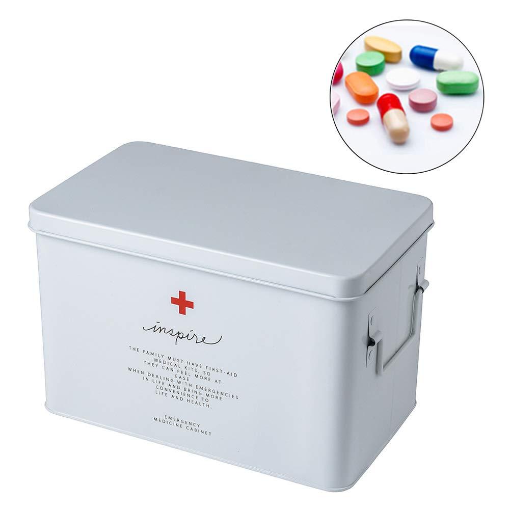 YXYLD Caja BotiquíN Kit De Primeros Auxilios Hoja De Hierro Gran Capacidad BotiquíN De 2 Niveles DepóSito De Medicamentos Seguridad para Medicamentos White-L: Amazon.es: Hogar