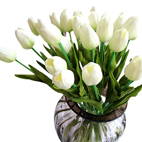 Tulipán Flores Artificiales 10 Piezas Ideal para decoración de casa y patio-Blanco