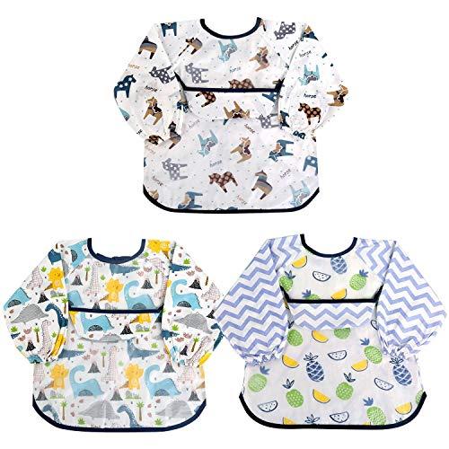 NEWSTYLE Baberos Bebe Impermeables,3 Piezas Baberos Bebés Con Manga,Baberos de Alimentación para Bebés Babero de Pintura Delantal Baberos para Bebé de 6-24 Meses Comiendo Pintura y Jugando