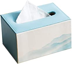 Baskets & Bins Leather Tissue Box Landscape Painting Home Tissue Box Blue Leather Tissue Storage Box (Color : Blue, Size :...